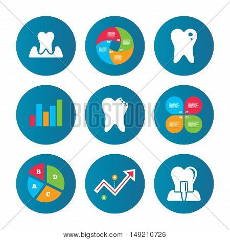 Business pie chart. Growth curve. Presentation buttons. Dental care icons. Caries tooth sign. Tooth endosseous implant symbol. Parodontosis gingivitis sign. Data analysis. Vector