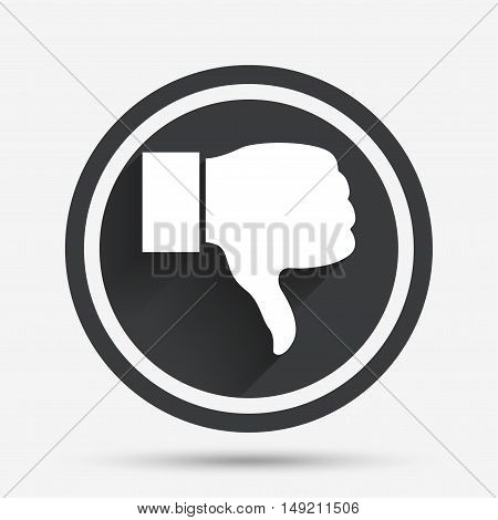 Dislike sign icon. Thumb down sign. Hand finger down symbol. Circle flat button with shadow and border. Vector