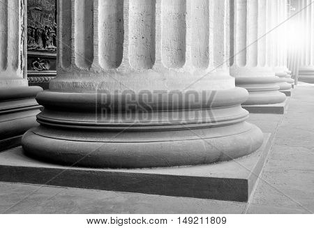 Architecture view - colonnade of the Kazan Cathedral in St Petersburg Russia. Architecture view. Architecture background. Architecture of St Petersburg Russia. Monochrome processing