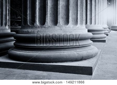 Architecture view - colonnade of the Kazan Cathedral in St Petersburg Russia. Architecture view. Architecture background. Architecture of St Petersburg Russia. Black and white processing