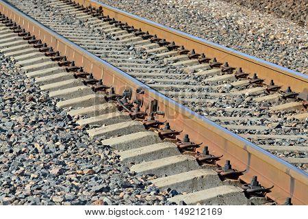 Arrow Rails. Rail and concrete sleepers closeup