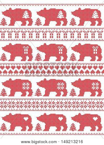 Scandinavian style and Nordic culture inspired Christmas and festive winter seamless pattern in cross stitch style with polar bears with snowflake, star, heart, tree, gift and decorative ornaments