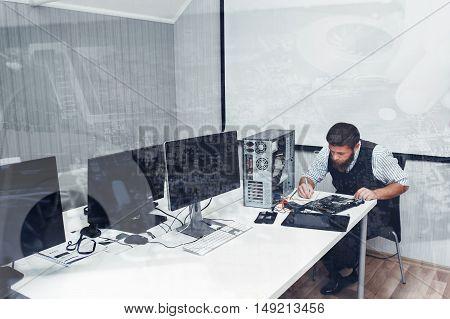 Computer repairing at office, double exposure. Programmer fixing broken PC in open space, copyspace