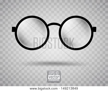 round black-rimmed glasses on a gray checkered background