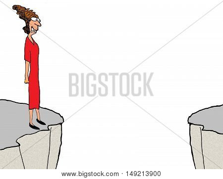 Color business illustration of a woman grimacing as she looks to the far cliff.