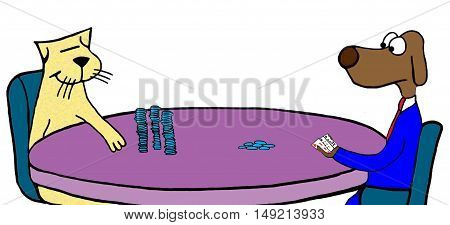 Color illustration of dog and cat playing poker, the cat is wining.