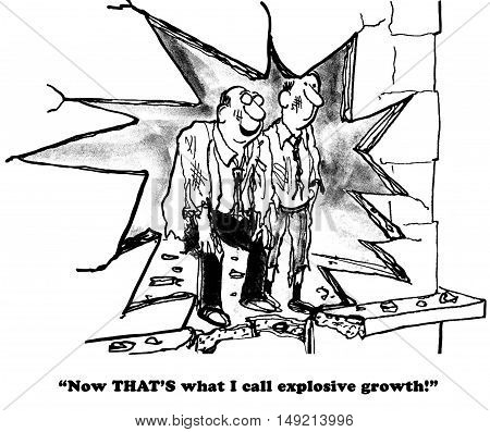 Business b&w illustration showing two businessmen looking at a hole in their wall, 'now that's what i call explosive growth'.