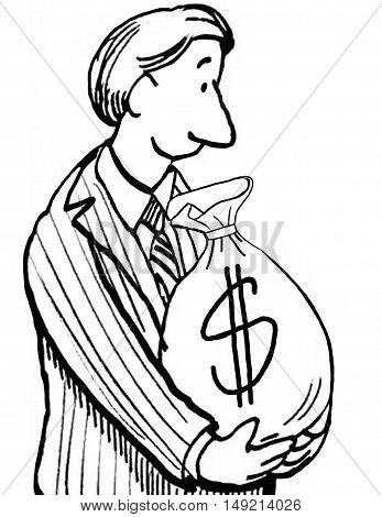 Business b&w illustration of a smiling businessman holding a big bag of money.
