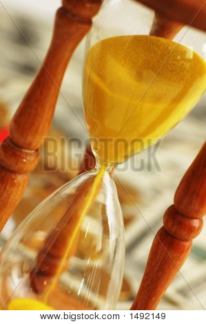 Time Concept - Diagonal Close Up Of Hourglasses