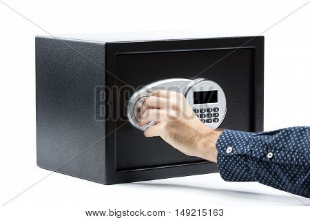 Man Hand Opened A Safe Deposit Box