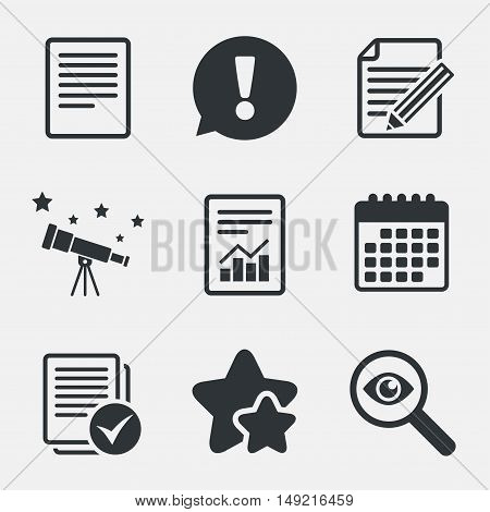 File document icons. Document with chart or graph symbol. Edit content with pencil sign. Select file with checkbox. Attention, investigate and stars icons. Telescope and calendar signs. Vector