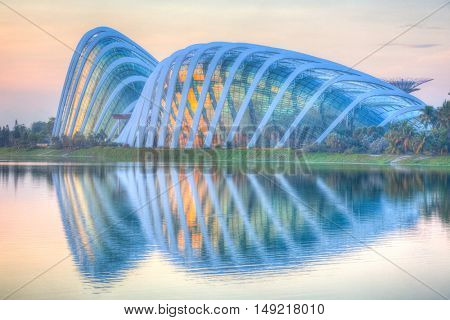 SINGAPORE 4 April 2016 - Largest glass greenhouse in the world - the Flower Dome and Cloud Forest at Singapore's Gardens by the Bay.