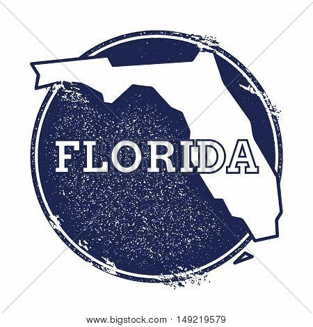 Florida Vector Map. Grunge Rubber Stamp With The Name And Map Of Florida, Vector Illustration. Can B