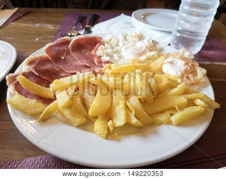 French Fries Iberian Ham And Eggs