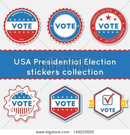 Usa Presidential Election Stickers Collection. Buttons Set For Usa Presidential Elections 2016. Coll