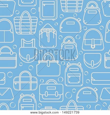 Two color seamless background with fashion bag line icons, vector illustration isolated on white background. Seamless fashion bag pattern, two colors, thin line icon style