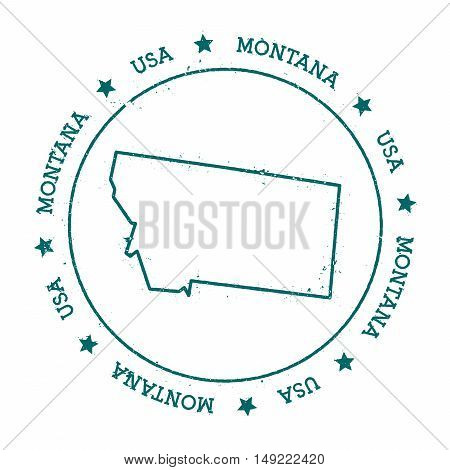 Montana Vector Map. Retro Vintage Insignia With Us State Map. Distressed Visa Stamp With Montana Tex