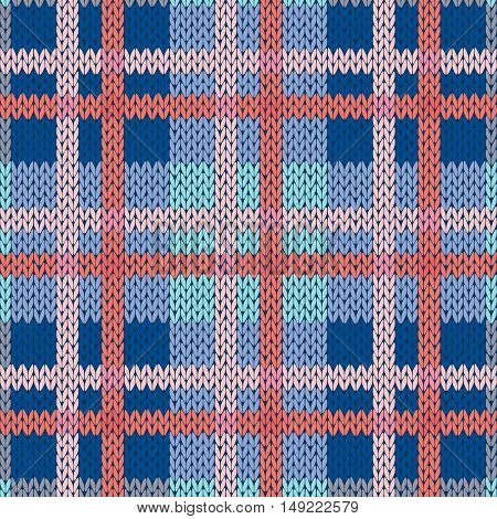 Knitting Seamless Pattern In Blue And Pink Hues
