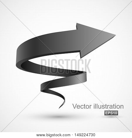 Black spiral arrow. Vector Illustration EPS 10