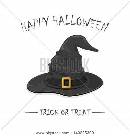 Halloween theme, black witch hat with golden buckle, isolated on white background, inscription Happy Halloween and trick or treat, illustration.