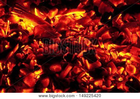 The embers glowing red on the fire.
