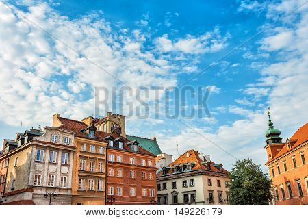Old town in Warsaw Poland. The Royal Castle and Sigismund's Column called Kolumna Zygmunta