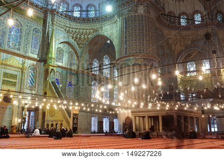 ISTANBUL, TURKEY - DECEMBER 11, 2015: Interior view of Sultan Ahmed Mosque or Blue Mosque. The mosque was built in 1609-1616 during the rule of sultan Ahmed I.