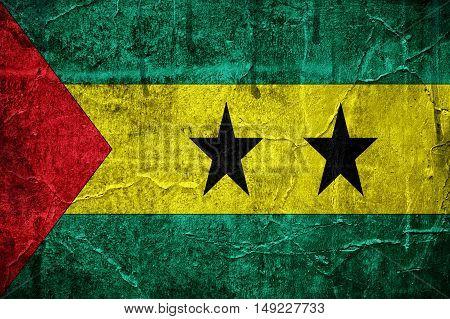 Flag of Sao Tome And Principe overlaid with grunge texture