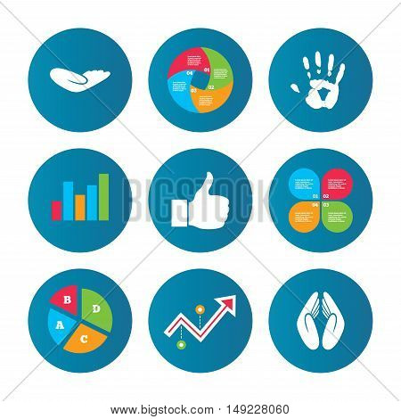 Business pie chart. Growth curve. Presentation buttons. Hand icons. Like thumb up symbol. Insurance protection sign. Human helping donation hand. Prayer hands. Data analysis. Vector