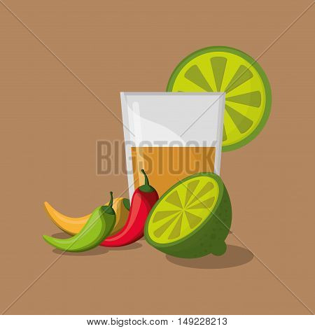 tequila shot with mexican culture related icons image vector illustration