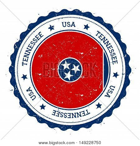 Tennessee Flag Badge. Grunge Rubber Stamp With Tennessee Flag. Vintage Travel Stamp With Circular Te