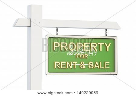 Property for sale and rent in Saudi Arabia concept. Real Estate Sign 3D rendering isolated on white background