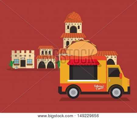 taco food truck with mexican culture related icons image vector illustration