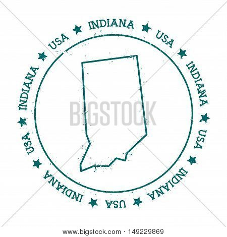 Indiana Vector Map. Retro Vintage Insignia With Us State Map. Distressed Visa Stamp With Indiana Tex