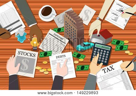 A vector illustration of people working on financial planning