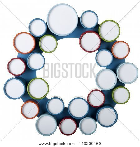 Twenty-four small, round, colorfully framed circles mounted on a donut-shaped base.  Small circles to be filled with your words, numbers or images.