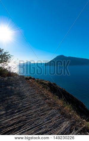 Seaview of aeolian islands from Lipari, Italy