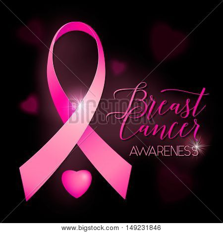 Vector illustration of breast cancer ribbons and heart women awareness background. Breast cancer black card with ribbon and text lettering sign breast cancer awareness