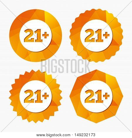 21 plus years old sign. Adults content icon. Triangular low poly buttons with flat icon. Vector