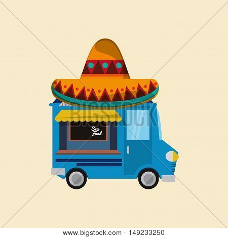 sombrero with food truck mexican culture related icons image vector illustration