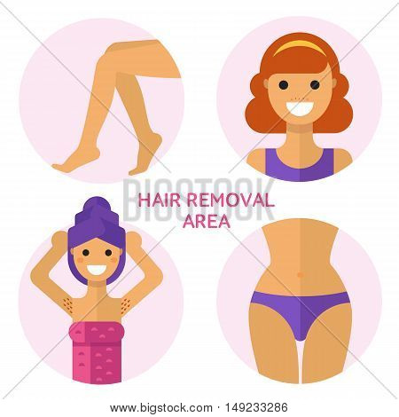 Flat design vector illustration of hair removal, epilation or depilation area. Beautiful woman face, armpits, legs, bikini zones. Body care, health and beauty icons concept.