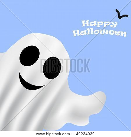 Ghost Halloween party in a white sheet. bringing, vector illustration
