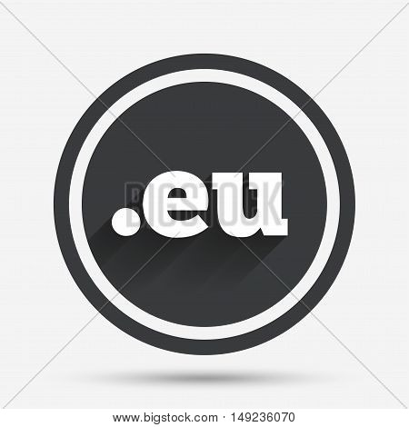 Domain EU sign icon. Top-level internet domain symbol. Circle flat button with shadow and border. Vector