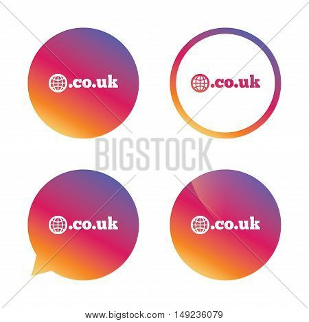 Domain CO.UK sign icon. UK internet subdomain symbol with globe. Gradient buttons with flat icon. Speech bubble sign. Vector