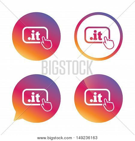 Domain IT sign icon. Top-level internet domain symbol with hand pointer. Gradient buttons with flat icon. Speech bubble sign. Vector