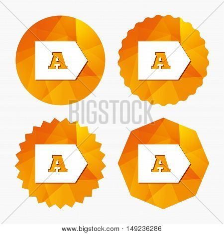 Energy efficiency class A sign icon. Energy consumption symbol. Triangular low poly buttons with flat icon. Vector