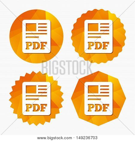 PDF file document icon. Download pdf button. PDF file symbol. Triangular low poly buttons with flat icon. Vector