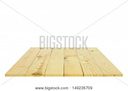 top view or 45 degrees modern and classic vertical wood table pallet pallet racking or floor for your place object or product on white background isolated