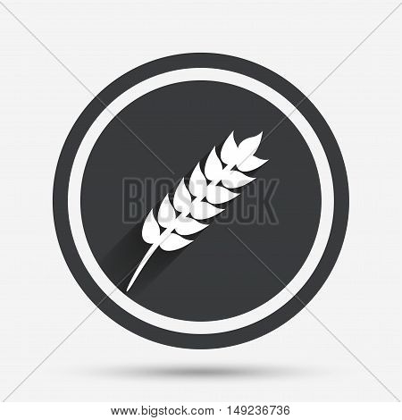 Gluten free sign icon. No gluten symbol. Circle flat button with shadow and border. Vector