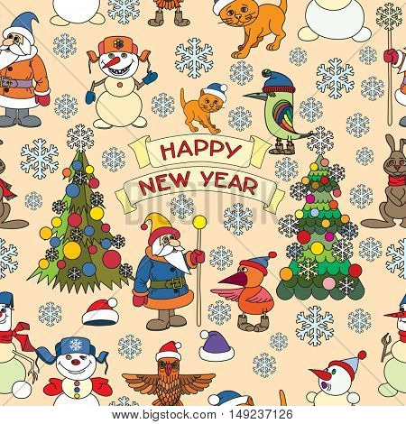 Holiday card with snowflakes and says Happy new year. Seamless.